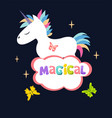 cute magical unicorn isolated on dark background vector image
