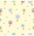 cute pastel flower emoji seamless pattern vector image