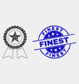 dot star award icon and scratched finest vector image vector image