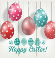 easter colorful eggs on wooden background vector image