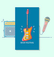 electric guitar music festivalmodern color thin vector image vector image