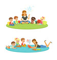 elementary students and teacher children