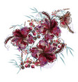 fashion floral with hibiscus flowers vector image vector image