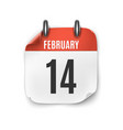 february 14 calendar icon isolated on white vector image vector image