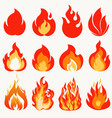 fire flame modern flames collection symbol icon vector image vector image
