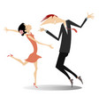 funny dancing young couple isolated vector image