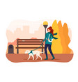 girl walking her dog in an autumn park vector image vector image