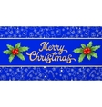 Gold Xmas lettering inscription and holly branches vector image