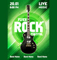 green rock festival concert party flyer or poster vector image vector image