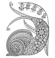 Hand drawn contented Snail and flower for adult vector image