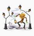 Happy Halloween with Pumpkin Head vector image
