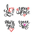 happy valentine s day lettering collection set of vector image vector image