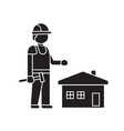 home construction worker black concept icon vector image vector image