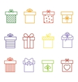 multicolor gift boxes thin line icons set vector image