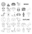 pet dog monochrom icons in set collection for vector image vector image