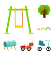 playground entertainment cartoon icons in set vector image vector image