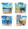 postman or mailman parcels delivery post office vector image vector image