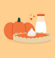 pumpkin pie with fresh pumpkin and bottle of milk vector image