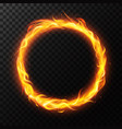realistic fire ring burning flame circle hoop vector image