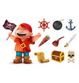 sea pirate icon set with happy boy character vector image
