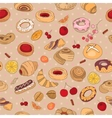Seamless pattern with different pastry vector image vector image