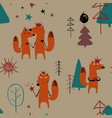 seamless pattern with fairytale fox vector image