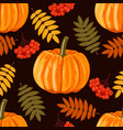 seamless pattern with leaves pumpkins and rowan vector image vector image