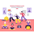 senior fitness class flat poster vector image vector image