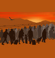silhouettes of refugees people behind barbed wire vector image
