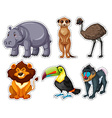 Sticker set with many animals vector image vector image