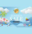 summer sale design with paper cut beach island vector image