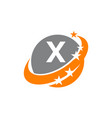 swoosh star solution letter x vector image vector image