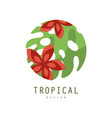 tropical logo design round geometric badge with vector image vector image