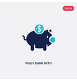 two color piggy bank with coin icon from commerce vector image