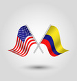 two crossed american and colombian flags vector image