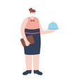 waitress with platter work essential during covid vector image