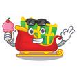 with ice cream santa claus sleigh in shape cartoon vector image