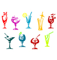 Alcohol and juice cocktails vector image