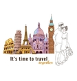 Europe Travel Couple Composition vector image