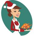 Woman holding Christmas turkey vector image