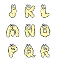 Set of cartoon letters from J to R vector image