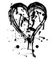 Heart drops of paint black sketch Vintage Poster vector image