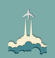 airplane in the clouds vibrant multicolored paper vector image vector image