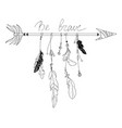 an arrow with feathers vector image vector image
