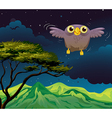 An owl flying in the middle of the night vector image vector image