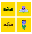 assembly flat bat book skull zombie men vector image vector image