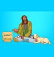 beggar poor african bum with dog vector image