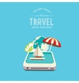 Booking travel through your mobile device vector image vector image