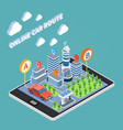 carsharing isometric composition vector image vector image
