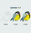 cartoon bird tit isolated 3 step drawing vector image